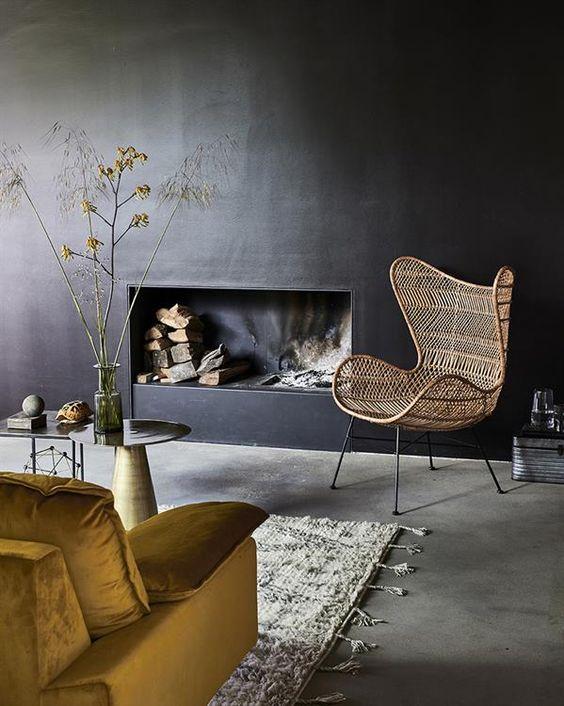 Rotan meubilair in een trendy interieur. (Foto: Pinterest)